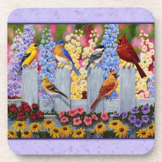 Colorful Birds Spring Garden Purple Coaster