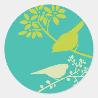 Colorful Birds Round Sticker