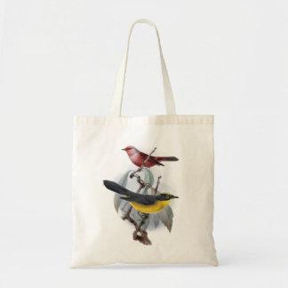Colorful birds vintage image bag