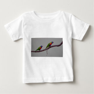 Colorful Birds Walking on a Branch Photo Baby T-Shirt