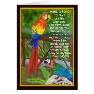 Colorful Birds with Psalm 40:5 Card