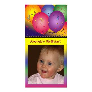 Colorful birthday balloon photo card template