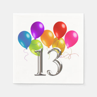 Colorful Birthday Balloons 13 Paper Napkin