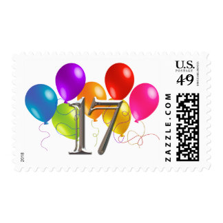 Colorful Birthday Balloons 17 Postage
