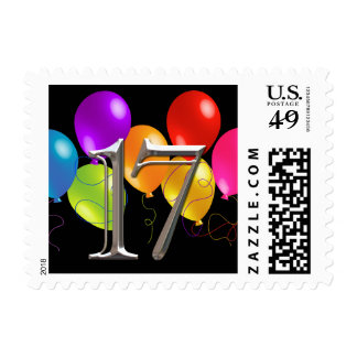 Colorful Birthday Balloons 17 Postage Stamp