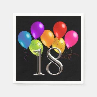 Colorful Birthday Balloons 18 Napkin