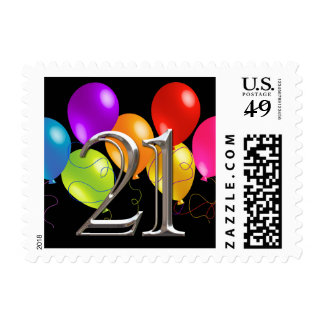 Colorful Birthday Balloons 21 Postage Stamp