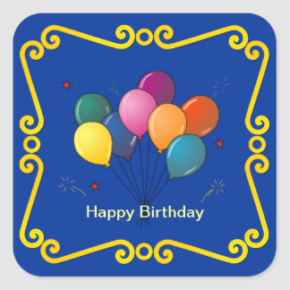 Colorful Birthday Balloons Celebration Sticker