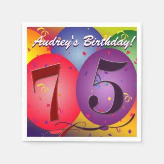 Colorful Birthday Balloons for 75th birthday! Napkin