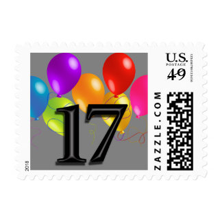 Colorful Birthday Balloons on Any Color - 17 Postage Stamp