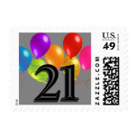 Colorful Birthday Balloons on Any Color- 21 Postage Stamps