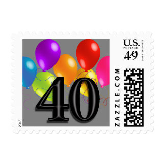 Colorful Birthday Balloons on Any Color - 40 Postage