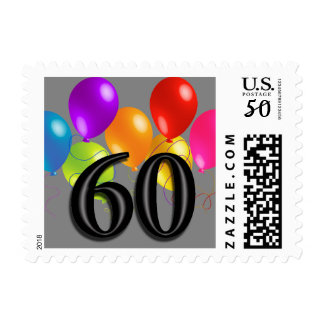 Colorful Birthday Balloons on Any Color- 60 Postage