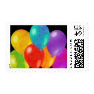 Colorful Birthday Balloons on Black Stamp