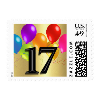 Colorful Birthday Balloons on Gold - 17 Postage Stamp