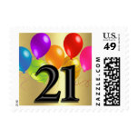 Colorful Birthday Balloons on Gold - 21 Stamp