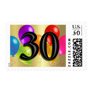 Colorful Birthday Balloons on Gold - 30 Postage