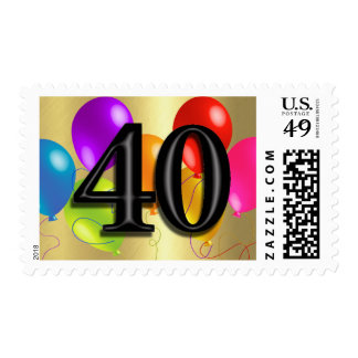 Colorful Birthday Balloons on Gold - 40 Postage