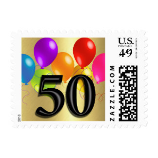 Colorful Birthday Balloons on Gold - 50 Postage