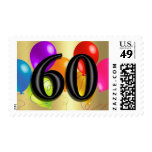 Colorful Birthday Balloons on Gold - 60 Postage Stamp