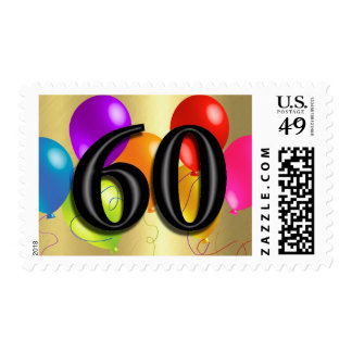 Colorful Birthday Balloons on Gold - 60 Stamps