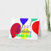 Colorful Birthday Balloons Thank You Card