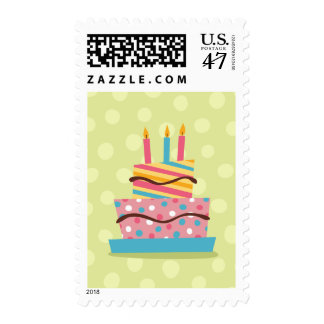 Colorful birthday cake on green background postage