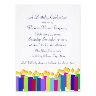 Colorful Birthday Candles 6.5x8.75 Paper Invitation Card