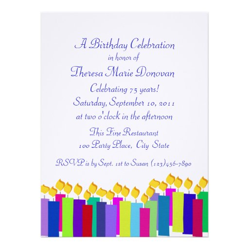 Colorful Birthday Candles Personalized Announcements