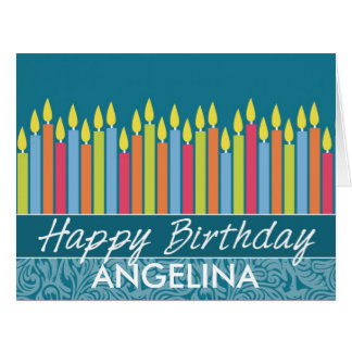 Colorful Birthday Candles with Custom Name Card