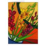 Colorful Birthday Card Gladiolus August Flower