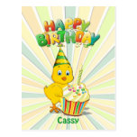 Cute Baby Chic With Cupcake Happy Birthday Postcard