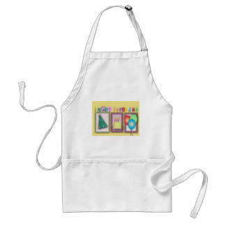 Colorful birthday hat, cake and balloons! aprons