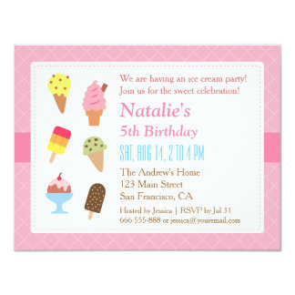 Colorful Birthday, Ice cream party invitations
