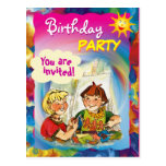 Colorful BIRTHDAY PARTY postcard