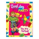 Colorful BIRTHDAY PARTY postcard invitation