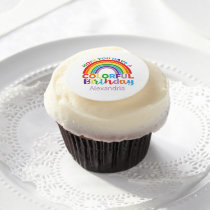 Colorful Birthday Rainbow Personalized Kids Girls Edible Frosting Rounds