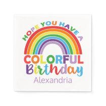 Colorful Birthday Rainbow Personalized Kids Girly Napkin