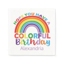 Colorful Birthday Rainbow Personalized Kids Girly Napkin
