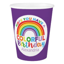 Colorful Birthday Rainbow Personalized Kids Girly Paper Cup