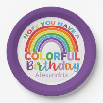 Colorful Birthday Rainbow Personalized Kids Girly Paper Plate