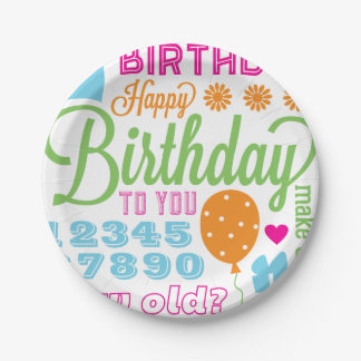 Colorful Birthday Sentiments Party Paper Plates
