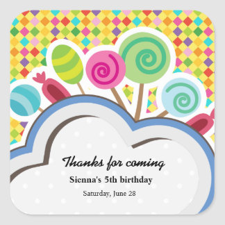 Colorful Birthday Square Stickers