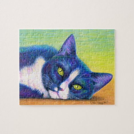 Colorful Black and White Tuxedo Cat Jigsaw Puzzle