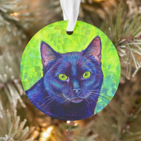Colorful Black Cat Acrylic Ornament