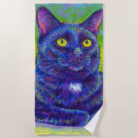 Colorful Black Cat Beach Towel
