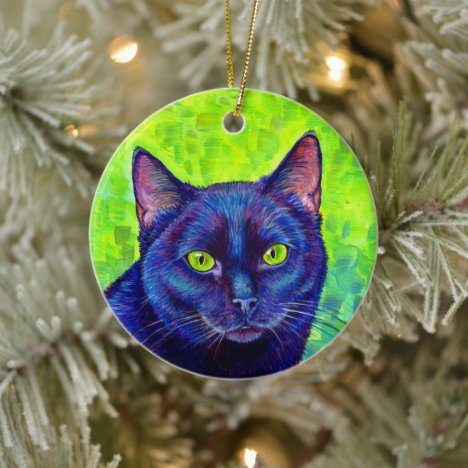 Colorful Black Cat Ceramic Ornament