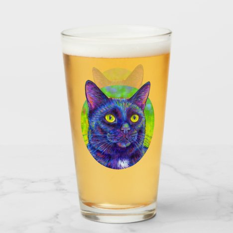 Colorful Black Cat Drinking Glass Cup