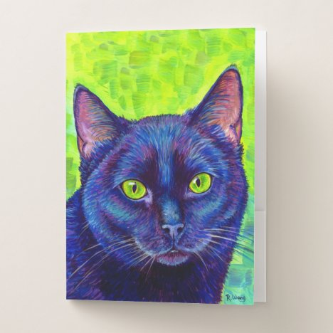 Colorful Black Cat Green Eyes Pocket Folders