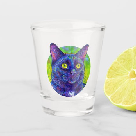 Colorful Black Cat Shot Glass